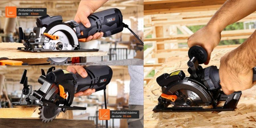 Realizando cortes de madera con la sierra circular TackLife TCS115A de 710W