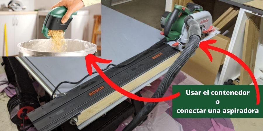Sierra eléctrica Bosch PKS 66 AF viruta contenedor