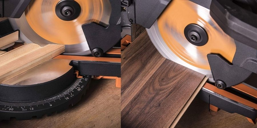 Sierra ingletadora R255SMS+ Evolution cortando en distintos ángulos