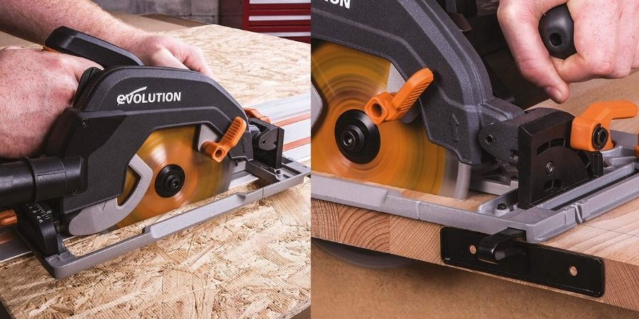 Corte de madera con la cortadora eléctrica