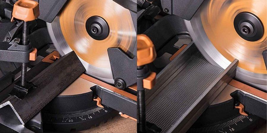 Sierra eléctrica R255SMS+ cortando con distintos materiales
