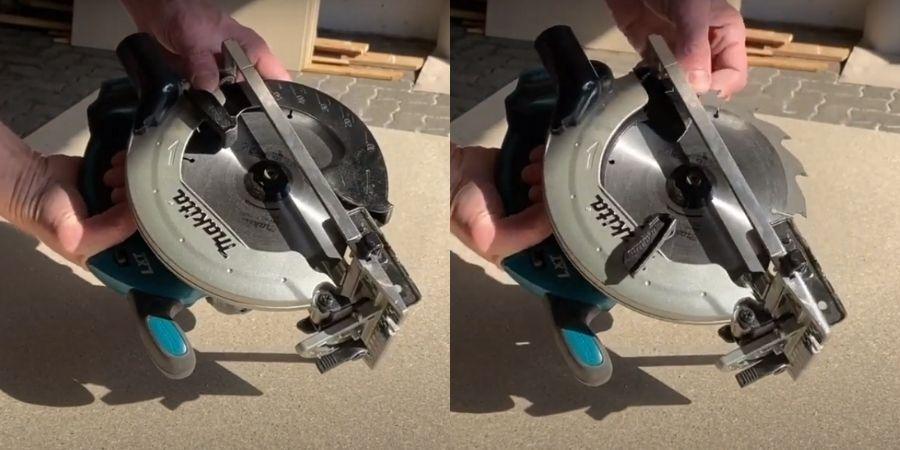 Cobertura protectora de la hojilla de la cortadora DSS501Z siendo desplazada.