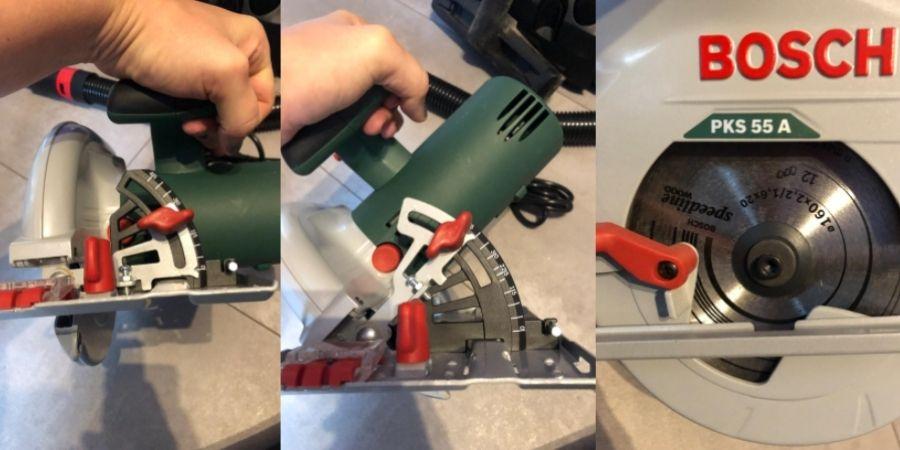 Diferentes vistas de la herramienta eléctrica de 3500RPM PKS 55A Bosch