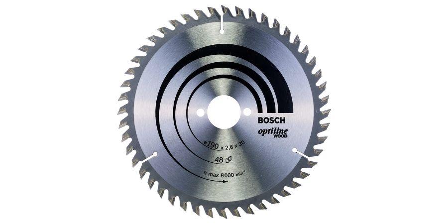 Hoja de sierra circular Optiline Wood Bosch 2 608 640 617 de tamaño 190 x 30 x 26 mm, 48 dientes