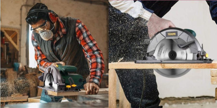Personas trabajando con la Sierra circular eléctricaTACS22P de Teccpo