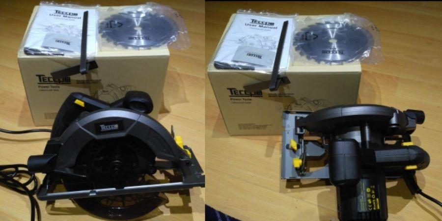 Sierra circular TACS22P de Teccpo con su caja
