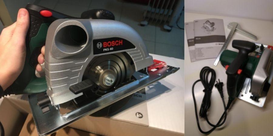 Diferentes vistas de la sierra de mano Bosch PKS 40 Upgrade