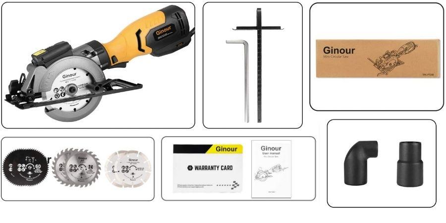 Elementos que vienen incluidos en la compra de la Sierra electrica Ginour 3600RPM