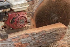 Sierra circular dividiendo un tronco en un aerradero